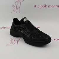 Claudio Dessi fekete bőr slip on