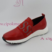 Claudio Dessi piros bőr slip on